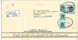 UAE Abu Dhabi Registered Airmail 1988 Falcon 3 DH, 175 Fils Strip Of 3 Special Cover - Abu Dhabi