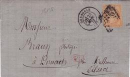 18138# CERES SIEGE N° 38 LETTRE Obl GRENOBLE 1873 ISERE Pour DORNACH MULHOUSE HAUT RHIN ALSACE 1307 PASSE DIJON BELFORT - Marcophilie (Lettres)