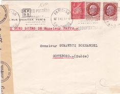 18150# PETAIN LETTRE CENSURE ALLEMANDE Obl PARIS 58 1943 GOTEBORG SUEDE SWEDEN SVERIGE - Guerra Del 1939-45