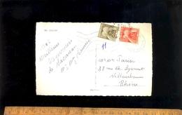 Timbres Taxes 0,10 Et 0,20 Sur Cp 1963 Double Oblitération Charente Maritime Et Rhône - Postage Due