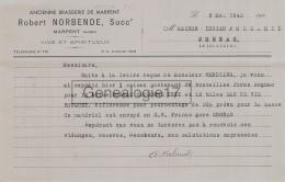 59 4102 MARPENT NORD 1943 Brasserie De Marpent Des Ets ROBERT NORBENDE Vins Spiritueux - Entremise WENDLING - 1900 – 1949