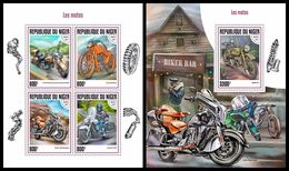 NIGER 2017 - Motorcycles, M/S + S/S. Official Issue - Motorbikes