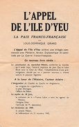 """WW2 - L'APPEL DE L'ILE D'YEU """"La Paix Franco-française"""" Par Louis-Dominique GIRARD - - Documents Historiques"""