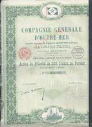 ACTION COMPAGNIE GENERALE D OUTRE MER 1927 SIEGE SOCIAL PARIS RUE DE LA VICTOIRE : - Transports
