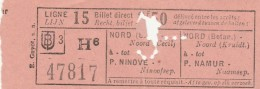 BIGLIETTO FRANCIA LIGNE 15 NINOVE NAMUR (TR180 - Europa