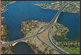 °°° 8103 - AUSTRALIA - SIDNEY - AERIAL OF GLADESVILLE BRIDGE AND PARRAMATTA RIVER - 1973 With Stanps °°° - Sydney