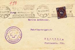 L4347 - Germany (1923) Nürnberg 2: Visits Aug. 1923 The 15; Esperanto World Congress (letter) Tariff: 20 M - Esperanto