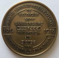 Militaria. Fédération  Nationale Des Combattants De Belgique. 50ème Anniversaire. 1919-1969. Médaille 60 Mm - Belgique