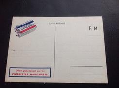 Carte Postale Offerte Par Les CIGARETTES NATIONALES - Franchise Militaire - 1939-1945 - Marcophilie (Lettres)
