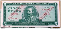 1988, Billete MUESTRA, De CINCO PESOS, UNC. (SPECIMEN) Ultimas Emisiones De Este Diseño - Cuba