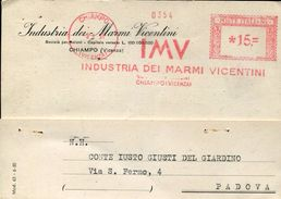 25884 Italia, Red Meter/freistempel/ema/chiampo  1951 Industria Marmi Vicentini, Circuled Card - Machine Stamps (ATM)