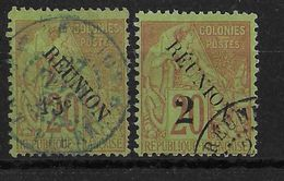 REUNION - YVERT N° 30/31 OBLITERES - COTE = 31 EUR. - Reunion Island (1852-1975)