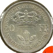 BELGIUM FRENCH 20 FRANCS CROWN FRONT KING LEOPOLD HEAD BACK 1934 AG SILVER VF KM? READ DESCRIPTION CAREFULLY !!! - 1934-1945: Leopold III
