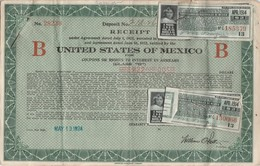 RECEIPT UNITED STATES OF MEXICO 1924 X4  -TDA223 - Banque & Assurance