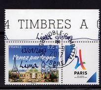 France 2017.Paris.Ville Candidate Jeux Olympiques De 2024.Cachet Rond Gomme D'origine.Surchargé Lima 13/09/2017. - Used Stamps