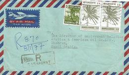 Bangladesh 1977 Sadarghat Coconut Tree Fruit Registered Cover To Saudi Arabia - Bangladesh