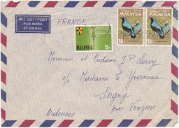 MALAYSIA / Marcophilie (Lettre) / 1968 / Par Avion / By Air Mail / 3 Timbres (Stamps) - Maleisië (1964-...)