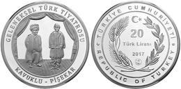 AC - TRADITIONAL TURKISH THEATRE KAVUKLU - PISEKAR COMMEMORATIVE SILVER COIN TURKEY 2017 PROOF UNCIRCULATED - Turquia
