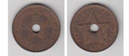 BELGIQUE - LEOPOLD I ROI DES BELGES  SOUV DE L'ETAT INDEP  DU CONGO - 5 CTS  1867 - TTB-SUP (COULEUR ROUGE D'ORIGINE) - Belgique