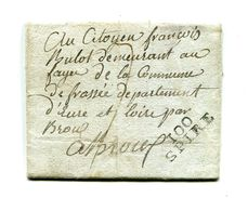 !!! PRIX FIXE : DEPT CONQUIS, 100 MONT TONNERRE, MARQUE POSTALE DE SPIRE SUR LETTRE DE 1801 AVEC TEXTE - Storia Postale