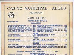 Restaurant Du Casino Municipal D'Alger - Carte Du Jour - 1949 - Menu