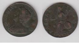 DEMI PENNY - ROYAUME UNIS - GEORGIUS II REX - 1734 - 1662-1816 : Anciennes Frappes Fin XVII° - Début XIX° S.