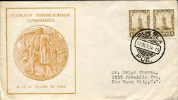 25927 Mexico,  Special Cover 1934 Puebla, Discovery Of America, Colon Coulomb, Columbus - Christophe Colomb