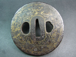 FREE SHIPPING. A Decorated Katana Tsuba For A Samurai Sword - Japan - Edo Period. FREE SHIPPING. - Armi Bianche