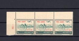 SUISSE Poste Aérienne 1941  Zumstein N° 35 Bande De 3 Timbres Neuf XX - Poste Aérienne