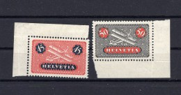 SUISSE Poste Aérienne  1923  Zumstein N°  8/9 Papier Lisse Neuf XX - Airmail