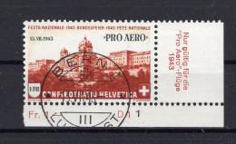 SUISSE  Poste Aérienne 1943 Zumstein N° 36 Obl. Centrale 1er Jour - Airmail