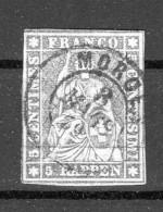 SUISSE 1856-1857  Zu. N° 22D / Mi N° 13 IIBys  Obl. Centrale MORGES - Switzerland