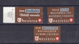 SUISSE  1942 Zu N° 254-256 / Mi405-407 Neuf XX - Switzerland