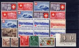 SUISSE 1939 1941  Lot De Timbres Neufs XX Pas De Double - 1882-1906 Coat Of Arms, Standing Helvetia & UPU