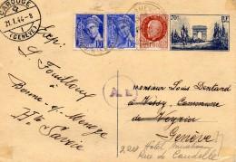 FRANCE   CP Entier Yvert N° 403-CP 1  Affranchissement Iris/Petain De BORME_SUR_MENOCE Pour GENEVE - Postal Stamped Stationery