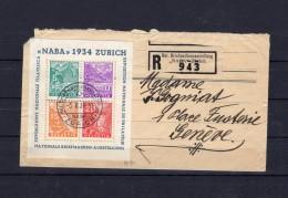 SUISSE   NABA 1934 Exposition Nationale De Philatélie  Enveloppe Entamée Mais Le Bloc Est Parfait Obl. Centrale 5.10.34 - Blocks & Sheetlets & Panes