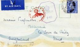 GRANDE BRETAGNE 24.6.1944  CP  Obl. Censure Allemande Et Anglaise  CP Du KENT Pour La Suisse - 1902-1951 (Kings)