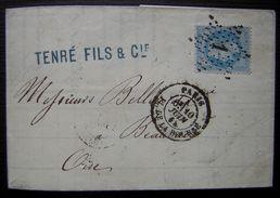 1868 Paris Tenré Fils Oblitération étoile 1 Pour Beauvais - Marcophilie (Lettres)