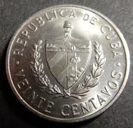Cuba 20 Centavos 1968 Top Grade Rare! - Cuba