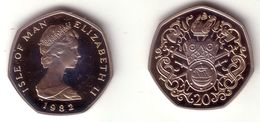 ISLE OF MAN, Elizabeth II - 20 Pence 1982 (b) BABY CRIB  - KM#90 Proof [Scarce Subtype] - Regional Coins