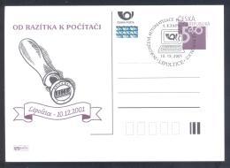 Czech Republic 2001 Postal Stationery Card: Automatization Of Czeck Post PC Computer - Post