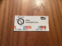 """Ticket De Transport (métro, Train) Stif PARIS(75) """"PARIS - AÉROPORTS CDG"""" Type 2 - Europe"""