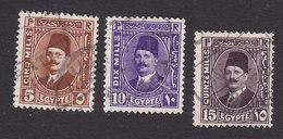 Egypt, Scott #135, 137, 140, Used, King Fuad, Issued 1927 - Egypt
