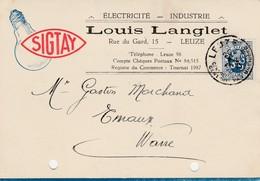 Leuze ,carte Publicitaire , Louis Langlet ;électricité Générale,  Lampe Sigtay,ampoule - Leuze-en-Hainaut