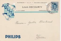 Mainvault ,carte Publicitaire ,Louis Decourty,électricité ,T.S.F.,machine Agricole ,lampe Philips (ATH) - Ath