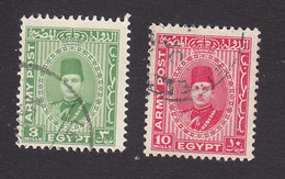 Egypt, Scott #M14-M15, Used, King Farouk, Issued 1939 - Usados