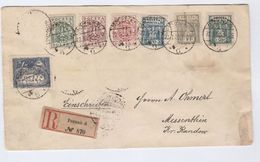 1920 REGISTERED Poznan POLAND Stamps COVER To Messenthin Msciecino - 1919-1939 Republic