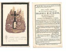 587. JOANNES KLEYKENS - Oud-onderwijzer VOORDT - °BROUCKOM 1825 / + HENDRIEKEN 1882 - Images Religieuses