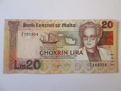 Rare! Malta 20 Lira 1967(1986) Banknote UNC - Malta