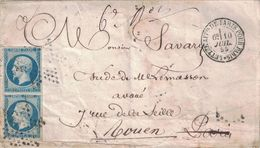 PARIS -LETTRE AFFie DE PARIS POUR PARIS * 10-7-1855 - EMPIRE 20c ND - ETOILE PLEINE - VERSO DIVERS CACHETS (P1). - 1849-1876: Période Classique